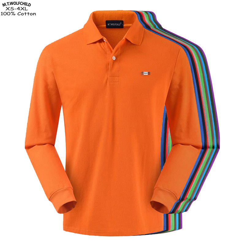 Top quality 2019 New Men's long sleeve   polos   shirts 100% cotton XS-4XL casual solid color mens   polos   shirts fashion mens tops