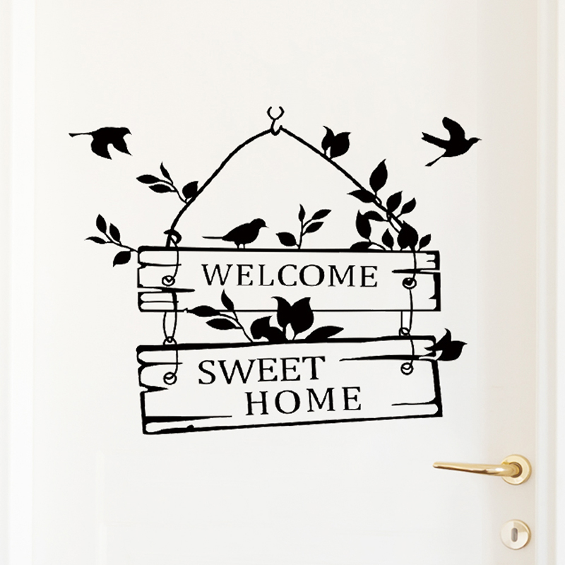 welcome sweet home door sign decoration wall decals ZYVA 8253 NA decorative vinyl wall stickers for home in Wall Stickers from Home Garden