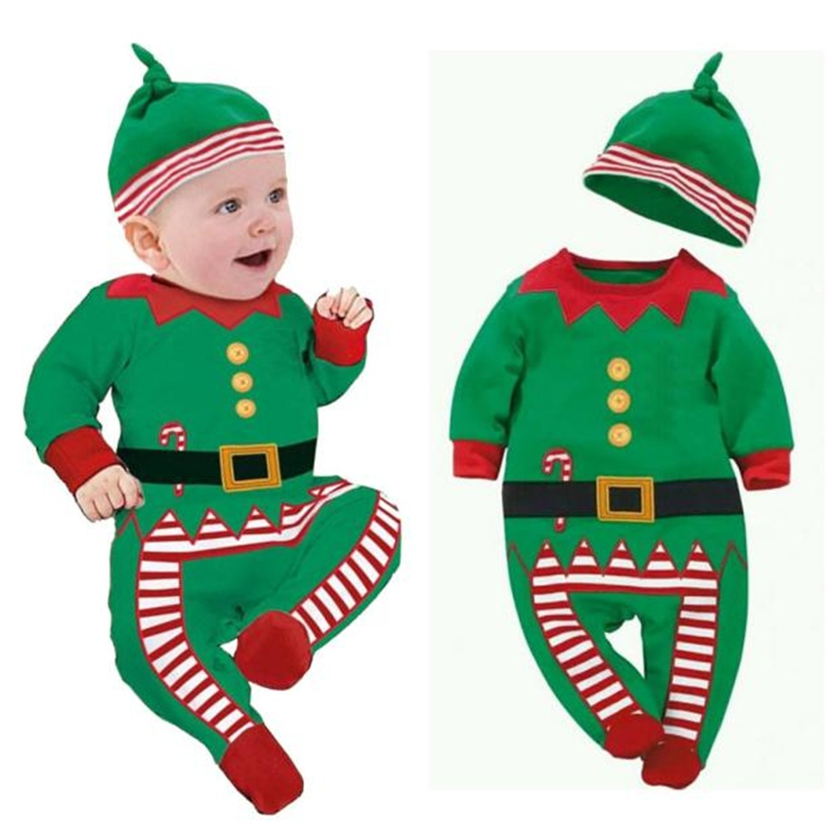 Baby Christmas Clothes Outfits Boys Girls Kids Romper Hat Cap Set Gift for 0-2T