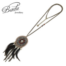 Badu Handmade Long Chain Necklace Round Pendant with Simulated Pearl Feathers Necklaces for Women Xmas Jewelry Gifts