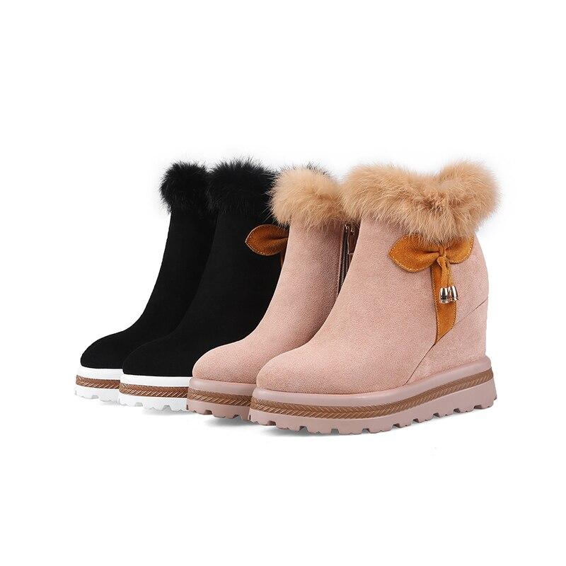 Botte Bout Chaussures Talons 2018 Bottines Fourrure Nouveau Plateforme Noir Li Cales Mao Femmes Femme Dames Chaud pink Hauts Black Pointu Wetkiss Li 8vm0Nnw