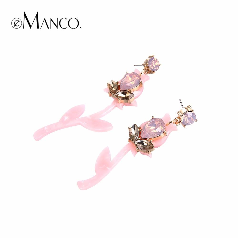 eManco trendy planter hengende dråpeøreringer for rosa akryl og - Mote smykker - Bilde 2
