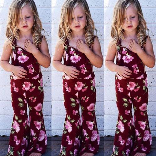2018 Neue Rote Blumen Overalls Kinder Mädchen Sommer Blume Sleeveless Insgesamt Strampler Overall Kinder Casual Outfit Kleidung 1-6y Heißer