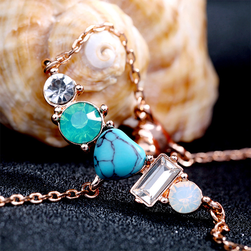 Vintage Colorful Crystal Stone Rivet Pendant Simple Design Womens Long Necklace Elegant Girls Clavicle Sweater Chain Jewelry