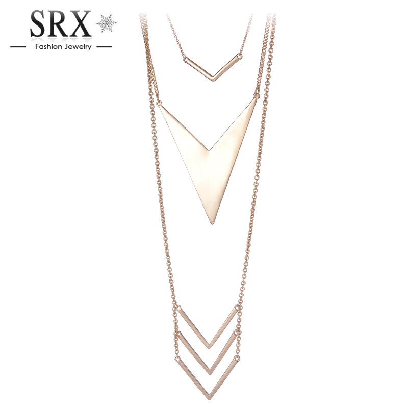 2016 New Brand Gold Silver Plated Long Link Chain Romantic Arrow Triangle Shaped font b Pendant