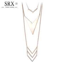 2016 New Brand Gold/Silver Plated Long Link Chain Romantic Arrow Triangle Shaped Pendant Charm Choker Necklace for Women Jewelry