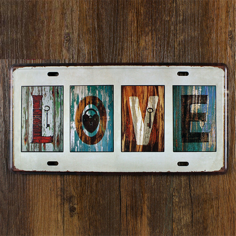 UA-CP-00237 New arrival Vintage matal tin signs car plates number  LOVE  bar wall art craft home decoration 30*15 CM