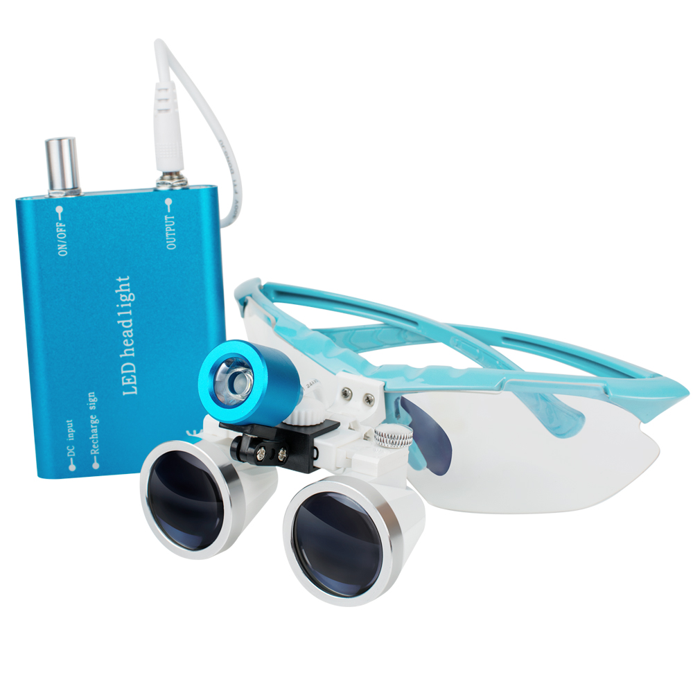 Denshine New Arrival Portable Blue LED Head Light Lamp+ Dental Surgical Medical Binocular Loupes 2.5X 320mm Optical Glass LoupeDenshine New Arrival Portable Blue LED Head Light Lamp+ Dental Surgical Medical Binocular Loupes 2.5X 320mm Optical Glass Loupe