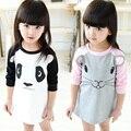 2015 девушки зима платье высокого качества с длинным рукавом panda мыши 18M-5 лет девочка одежда рождественский подарок халат bebe enfant