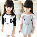 2015 girls winter dress high quality long sleeve panda mouse 18M-5 years old baby girl clothes christmas gift robe bebe enfant