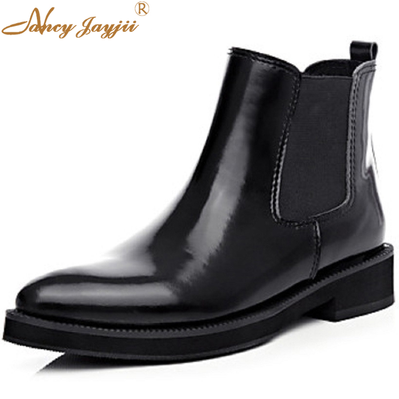 Fashion Black Womens Patent Leather Round Toe Ankle Boots Low Heeled Chelsea Slip On Dress Office Sewing Shoes Nancyjayjii 4-16 retro black bupperstar womens handmade leather buckle mid calf shoes low heeled round toe autumn rubber boots botas piel mujer