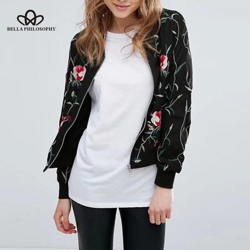 Bella Philosophy 2018 Autumn Winter Women   Jacket   Coat Female Fashion Embroidered Zippered   Basic     Jackets   long sleeve Outwear