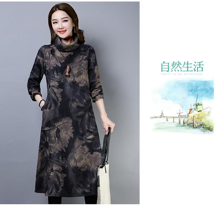 2019 New Women Spring Autumn Dresses Turtleneck Printed Female Long Sleeve Vintage Robe Dress Vestido 69