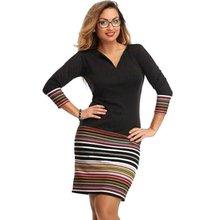 Moda Hanımefendiler Elbiseler Siyah Dikiş Bodycon Çizgili Üç Quater Kol Slim Mini Elbise Y8664