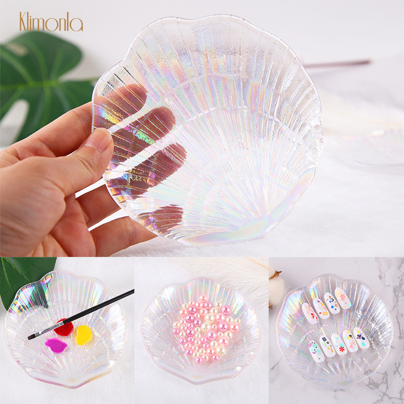 New 1pcs Colorful Glass Nail Palette With Shell Shape UV Gel Painting Board Nail Art Display Tips For Manicure