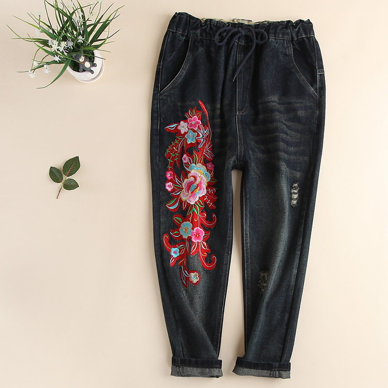 ФОТО Vintage plus size chinese style flowers big rose  embroidery female  jeans pants high waist loose harem pants