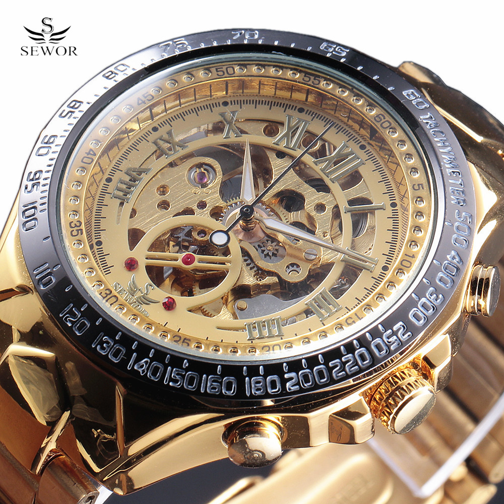 2017 SEWOR Luxury Brand Watches Men Automatic self-wind Fashion Casual Male Sports Watch Full Steel Gold Skeleton Wristwatches sewor new arrival luxury brand men watches men s casual automatic mechanical watches diamonds hour stainless steel sports watch