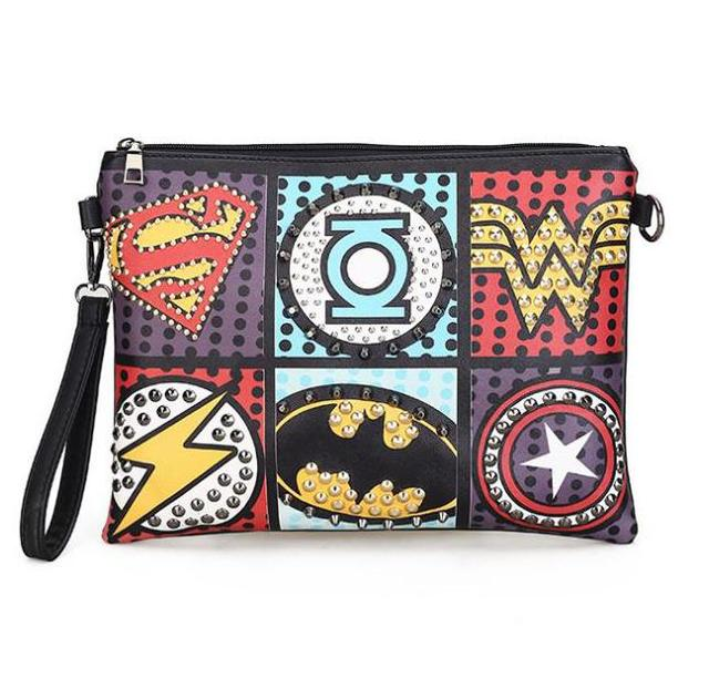 f63bb04d08c2 Retro Envelope Clutch Pu Leather Clutch Bag Lady Rivet Punk Handbag  Messenger Bags Women Super Hero Crossbody Bags For Women