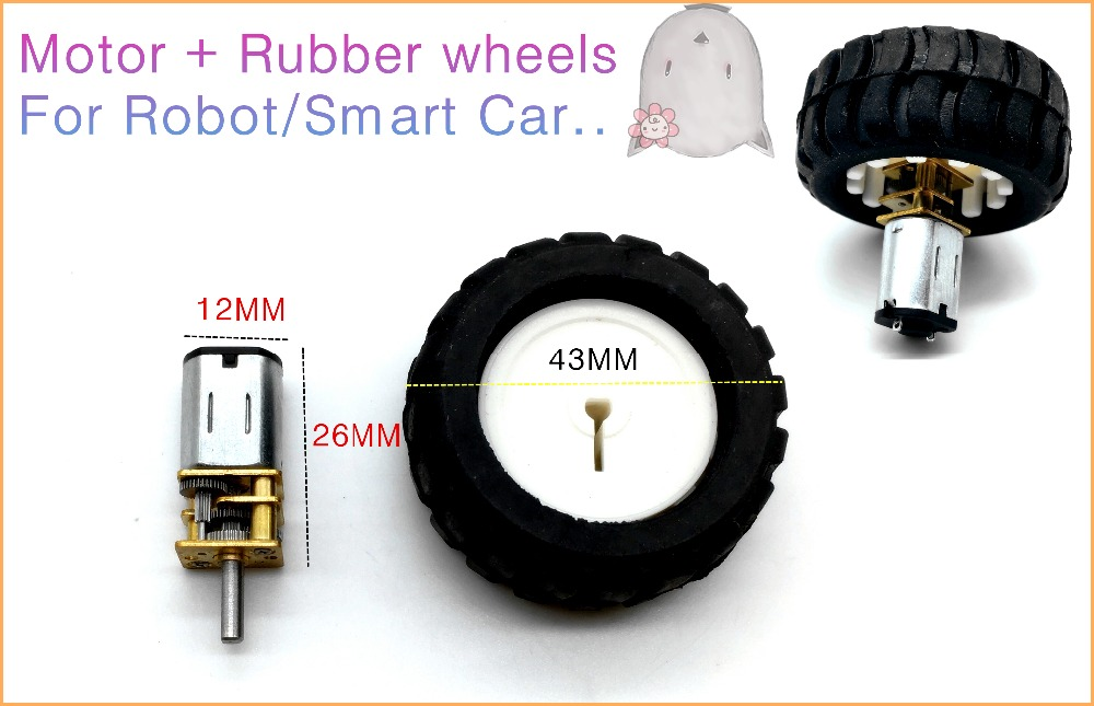 N20 micro gear motor rubber wheels for robot smart car for Robot motors and wheels