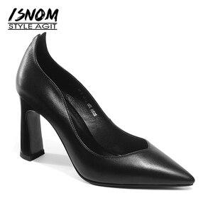 ISNOM летние туфли на высоком тонком каблуке Для женщин насосы острый носок Обувь из телячьей кожи туфли обувь осень слипоны офисные Модная же...