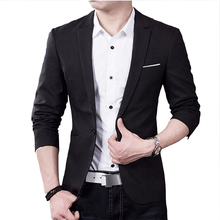Fashion Brand Mens Blazer British Style Casual Slim Fit Jacket Male Bla