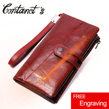 New Fashion Genuine Leather Women Wallet Card Holder Long Lady Clutch Wallets Big Capacity Purse With Phone Bags For Women