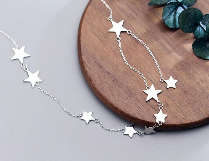 Women's 100% real 925 Sterling Silver Fine Jewelry Polished Stars Pendant Choker Short necklace GTLX1626-in Necklaces from Jewelry & Accessories
