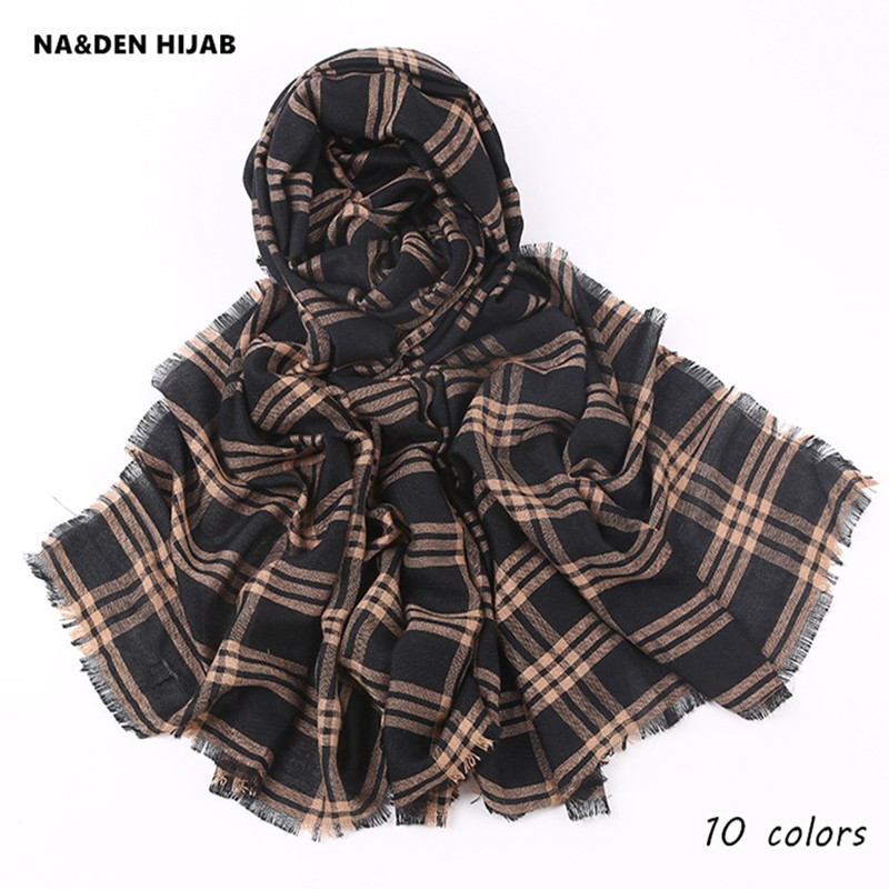Hot sale women/men plaid scarf soft islamic grid hijab scarfs fashion popular scarves and shawls hot sale pashmina design