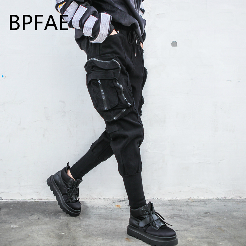 New Hip Hop Cargo Pants Elastic Waist Stereo Pockets Patchwork Zipper Harajuku Loose Overalls Casual Cotton Ankle Length Pants-in Pants & Capris from Women's Clothing    1