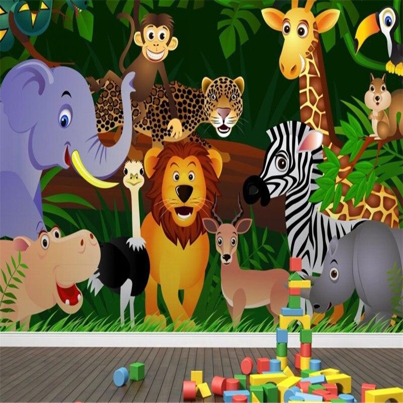 Beibehang Mural Jungle Animals Wallpaper Mural 3D Wallpaper For Child Bedroom 3d Wall Paper Papel De Parede Para Quarto