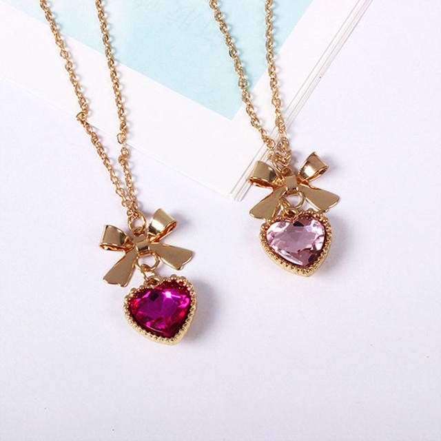 Fashion Cute Bowknot Rhinestone Heart Pendant Women Chain Necklace Accessories Soft Bow Series Glass Gem Necklaces & Pendants