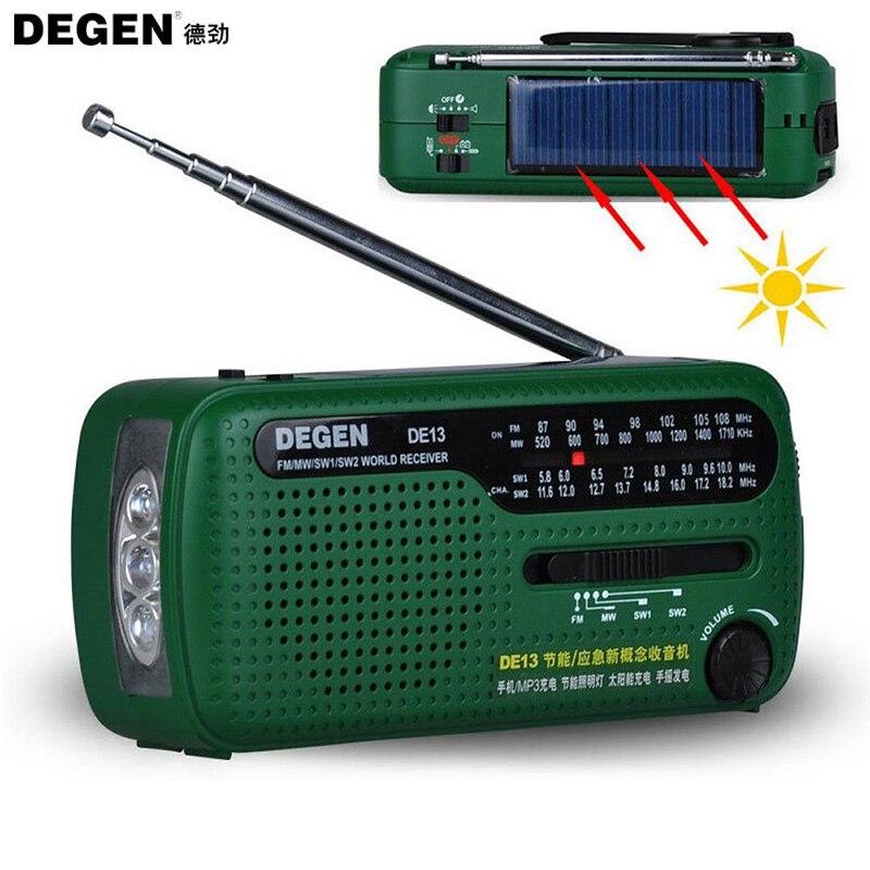 Hotsale Degen Brand FM Radio DE13 FM MW SW Crank Dynamo Solar Emergency Radio World Receiver Quality VS Tecsun PL-310 Panda 6200