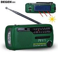 Hotsale Degen Brand FM Radio DE13 FM MW SW Crank Dynamo Solar Emergency Radio World Receiver Quality VS Tecsun PL 310 Panda 6200