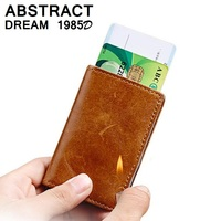 af6ae7e45 RFID Wallet Men S Luxury Automatic Card ID Holders Wallet Real Leather  Metal Business Wallet Woman