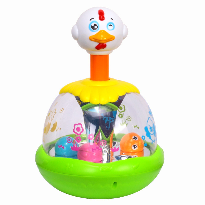 Cheap Baby Toys Push and Spin Carousel Chicken Toy Hen Jumping With Music Early Development Kawaii Kids Toys for children