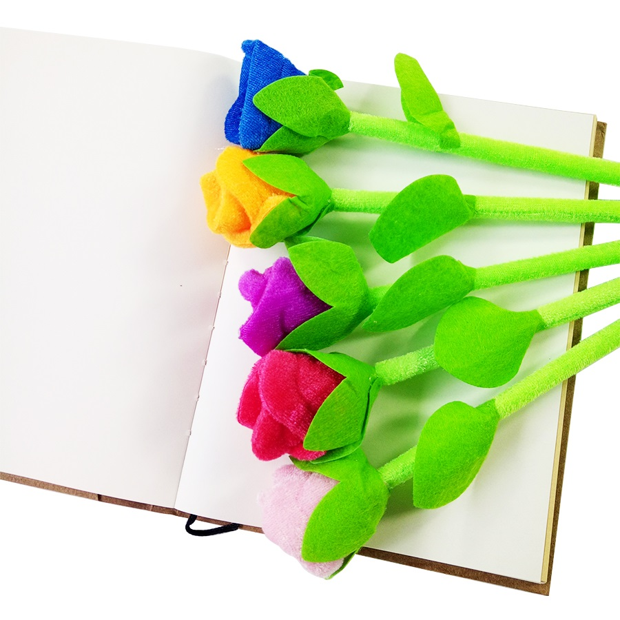 Купить с кэшбэком 12Pcs/lot Beautiful Rose flower Ballpoint Pens  Stationery fresh Ball Pen Novelty lover Gifts