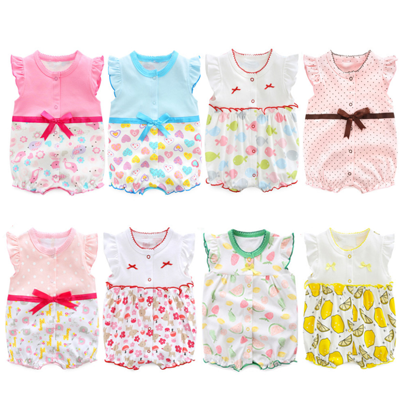 2018 baby clothing summer newborn designer baby clothes girls dress infant   romper   baby one piece bowknot jumpsuit climb clothes