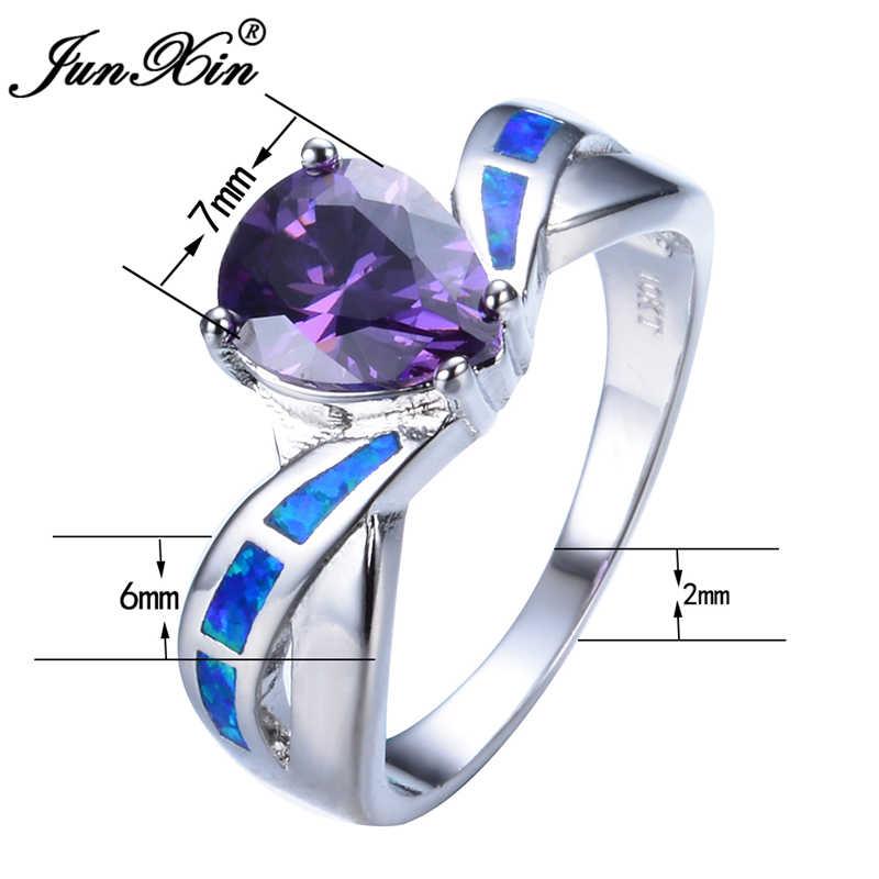 Junxin nuovo elegante viola aaa zircone blu opale di fuoco anelli oro bianco riempito gioielli regali di nozze per la festa della mamma rp0043