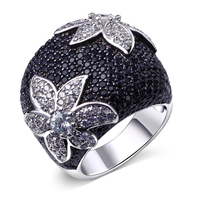 Fashion Engagement Rings for Women Gold Filled Jewelry Vintage Wedding Birthday Stone Gifts White & Black Zircon Ring Bijoux