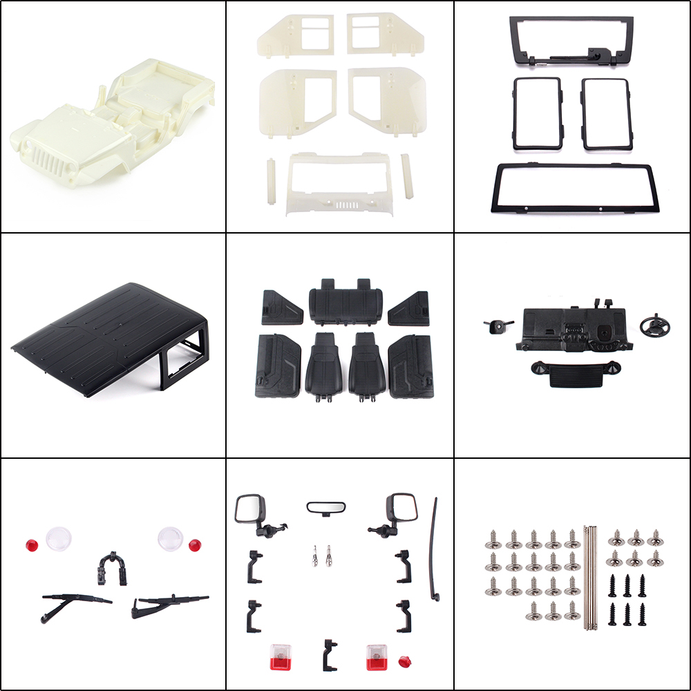 Image 2 - INJORA Unassembled 12.3inch 313mm Wheelbase Body Car Shell for 1/10 RC Crawler Axial SCX10 & SCX10 II 90046 90047 Jeep Wrangler-in Parts & Accessories from Toys & Hobbies