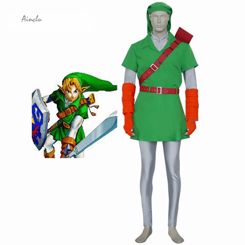 Ainclu Customize for adults and kids Free Shipping Forest Green The Legend of Zelda Link Cosplay Costume for Halloween Party
