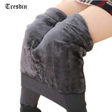 Tresdin High Elastic Waist Winter Plus Velvet Thicken Women's Leggings Warm Pants Good Quality Cashmere Thick Trousers Female