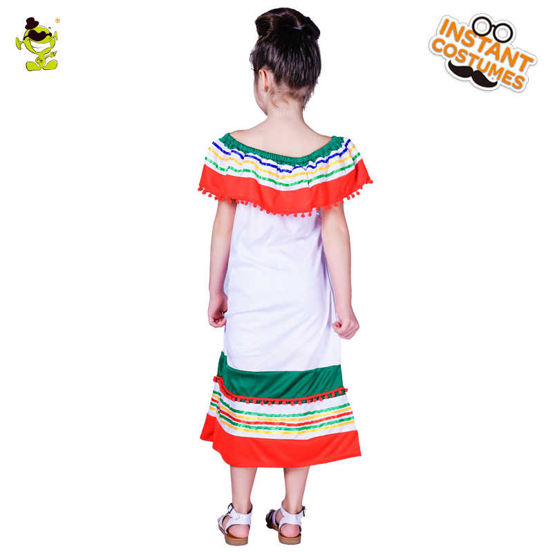 aa4d993bdd1 ... New Design Girl s Off-shoulder Rainbow Mexican Costumes Kids Sexy Mexico  Girl Decoration Fancy Dress