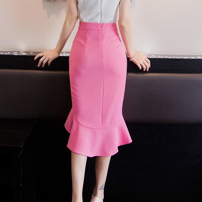 2017 nouveau femmes volant slim queue de poisson volants jupe taille haute sac hip jupes couleur unie asymétrique moyen long jupes - 3