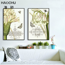 HAOCHU Nordic Lírio Pintura Da Lona Cartaz Da Arte Da Flor do Hydrangea Letras Abstratas Imagens Modulares para a Sala de estar Do Vintage