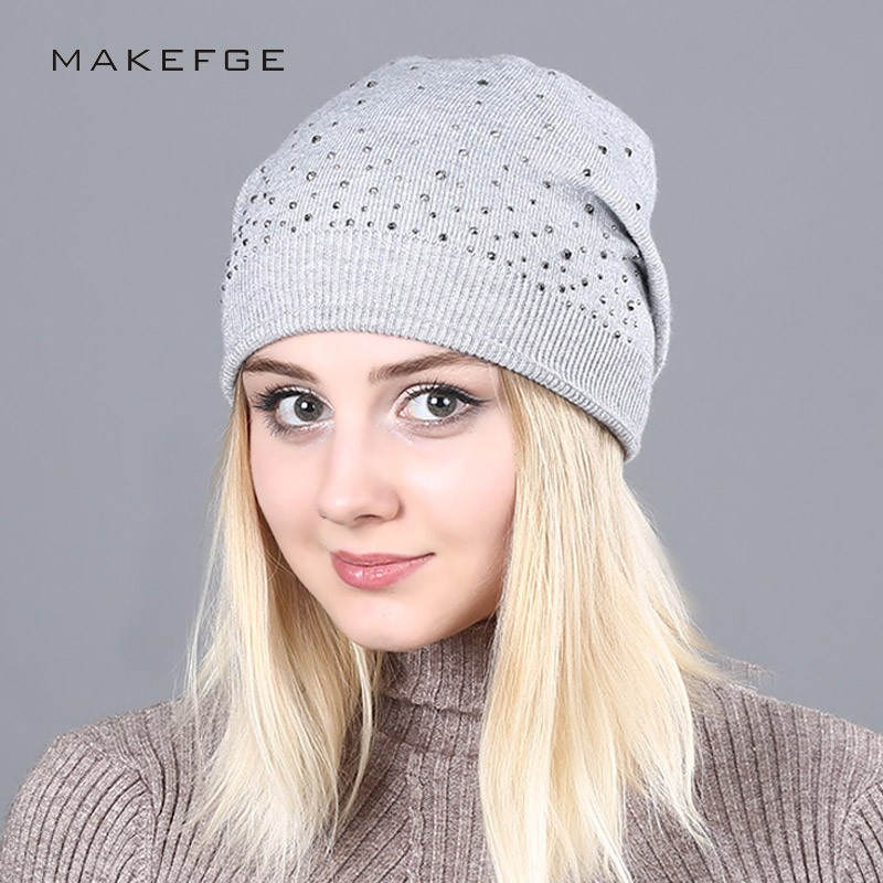 Women's 2017 Winter Ladies Knit Hats For Women Beanies Hat Diamond Beanie Brand Touca Knitted Cap Balaclava Caps Bonnet Hats