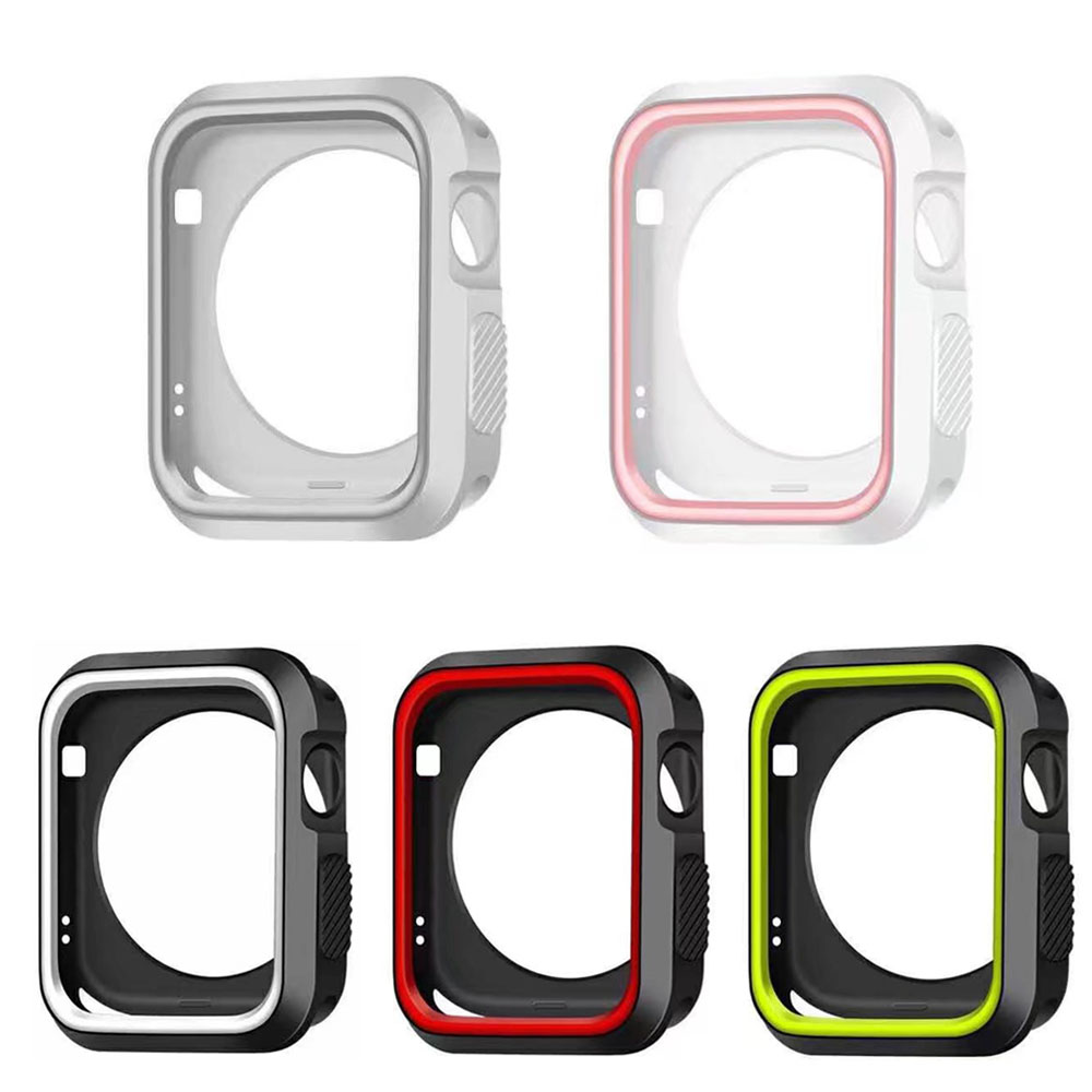 DAHASE Dual Colors Soft Silicone Case For Apple Watch Cover Full Protection for iWatch Series 1 & 2 & 3 42mm 38mm Strap