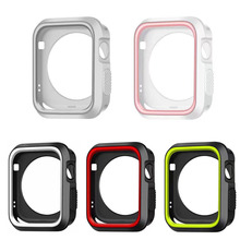 dahase dual colors sport silicone strap for apple watch band series 1 2 3 protect cover for apple watch case 42mm 38mm bracelet DAHASE Dual Colors Soft Silicone Case For Apple Watch Cover Full Protection for iWatch Series 1 & 2 42mm 38mm Strap