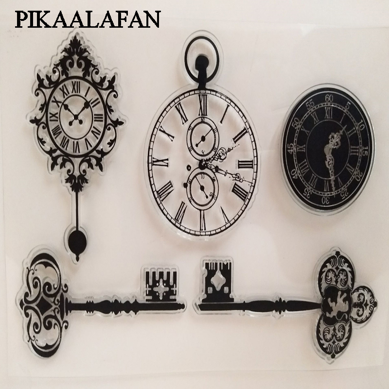 PIKAALAFAN Watches And Key Transparent Clear Seal DIY Silicone Stamp Scrapbooking/Card Making/Photo Album Decoration Stamp Toy
