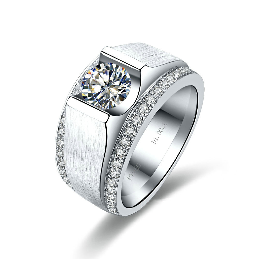 Wide Pave Setting 1 Ct Sona Simulate Diamond Wedding Band For Man